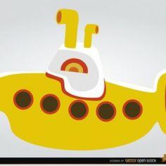 Juguete submarino amarillo en el estilo de dibujos animados