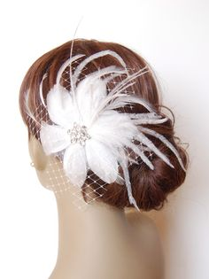 Masquerade Ball Feather Flower Fascinator : F019 made to order