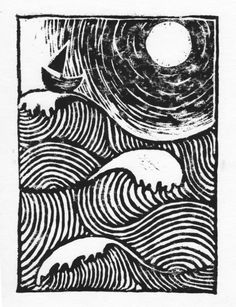 'sloeblack, slow, black, crowblack, fishingboat-bobbing sea' linocut print by Laura Fox Gill. http://laurafoxgill.me.uk/ Tags: Linocut, Cut, Print, Linoleum, Lino, Carving, Block, Woodcut, Helen Elstone, Sea, Waves, Moonlight, Ocean, Boat.