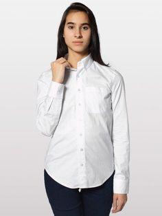 American Apparel Unisex Poplin Long Sleeve Button-Down Shirt With Pocket