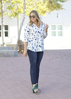 Sophisticated Casual with @bananaRepublic - floral blouse paired with distressed skinny jeans and block heeled sandals. Perfect outfit for a casual day out.
