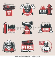 Vintage fire protection logos set of firefighting tools equipment and elements isolated vector illustration