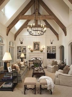 Below are the European Farmhouse Living Room Design Ideas. This article about European Farmhouse Living Room Design Ideas was posted under the Living Room category by our team at August 2019 at pm. Hope you enjoy it and . Home Design, Interior Design, Plafond Design, French Country Living Room, Country Kitchen, Family Room Design, Family Rooms, Farmhouse Lighting, Farmhouse Design