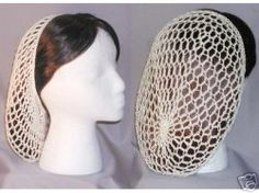 The dreaded snood. Picture found off a website from the right for our time period. A finer net is needed. Look at Hair board. Hair was also to be braided & pinned (styled) before being covered. Vintage Love, Retro Vintage, Chambray, Retro Updo, 1940s Hairstyles, Hair Nets, Vintage Crochet, Headdress, Vintage Fashion