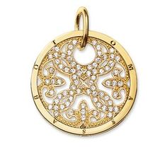 ornament Pendant with eyelet 925 Sterlingsilver; 18K yellow gold plated white zirconia The large Arabesque disc with 750 yellow gold plating (18 carat), embellished with white zirconia stones, is one of the main pieces of the SPECIAL ADDITION collection. Size: 3.5 cm