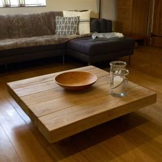 Floating Square Oak Sleeper Table