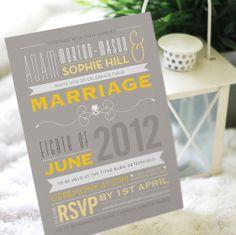Typographic wedding invitation on Etsy