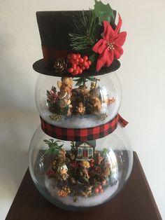 Fishbowl Snowman with Nativity Scene, nativity, Christmas, snowman, fishbowl, glass decorations by KukiUpcycledCrafts on Etsy
