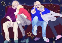 New World Family Horror Viewing by かおるここ - Hetalia FACE - France / Canada / America / England