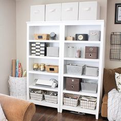 organized craft shelves to save space in an office or guestroom