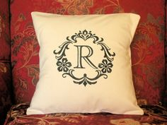 Pillow Cover Damask Initial R Natural 100% by CustomizedGiftForYou