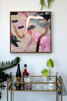 Styled bar cart with colourful modern art. Globe West, Arabescato Marble, Bar Cart Styling, Family Of Five, Storey Homes, Inspirational Wall Art, Green Velvet, New Builds, Concrete Floors