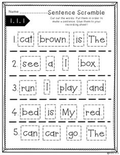 build a sentence sentence scramble cut and paste worksheets kindergarten pinterest. Black Bedroom Furniture Sets. Home Design Ideas