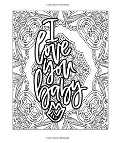 Love On My Mind: Adult Coloring Book for Romance Lovers (Adult Coloring Books) (Volume Swear Word Coloring Book, Love Coloring Pages, Printable Adult Coloring Pages, Mandala Coloring Pages, Coloring Books, Coloring Stuff, Valentine Coloring Pages, Lettering Ideas, Script Lettering