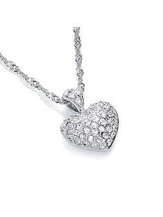 Buckley London Rhodium plate love heart pendant.