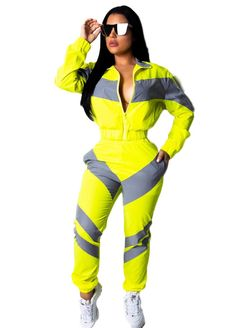 bba7bedafd35 Mixed Color Zipper Up Two Pieces Pants Set Suits   Sets Sexy Lingeire