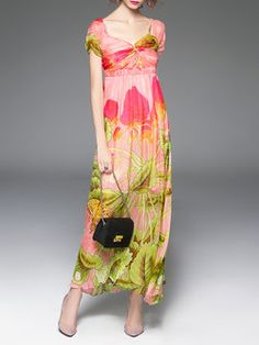 #Orange Summer Floral Sweetheart Shirred Resort Maxi #Dress #Stylewe |$108