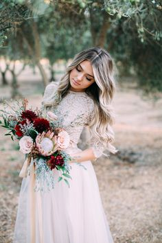 Blush, deep red and mint bridal look from @Blisstulle