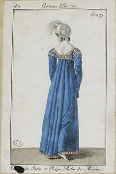 Fashion plate, 1811 French school painting of a Girl with a Lyre, 1800s