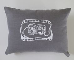 Pillow Cover - Cushion Cover - Camera - 12 x 16 inches - Choose your fabric and ink color