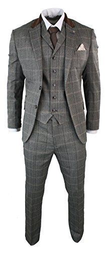 Cavani Uomo Cavani 3 pezzi misto lana a spina di pesce Tweed Vestito Blu Marrone Vintage Tailored Fit