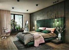 Green with navy. Bedroom