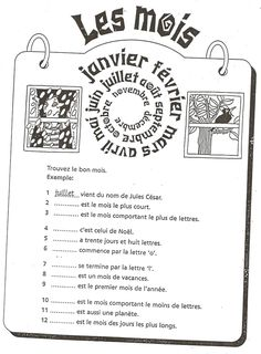 Français Langue Étrangère - A1: mois French Basics, French For Beginners, French Teaching Resources, Teaching French, How To Speak French, Learn French, Classroom Calendar, French Worksheets, French Education