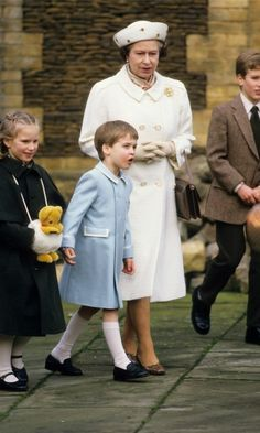 Make way for the Prince! Queen Elizabeth looked on at little William as he made his arrival at Sandringham.
