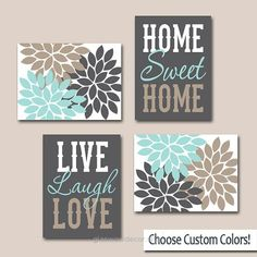 Splendid ★WALL ART CANVAS or Prints Live Laugh Love Home Sweet Home Quote Home Decor Artwork Picture Flower Burst Floral Set of 4 Choose Your Colors ★Includes 4 pieces of wall art ★Available in .. Diy Canvas Art, Diy Wall Art, Diy Art, Canvas Wall Art, Wall Decor, Canvas Crafts, Canvas Ideas, Mur Diy, Artwork Pictures