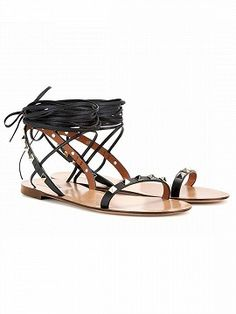 Shop Black Stud Detail Tie Up Gladiator Flat Sandals from choies.com .Free shipping Worldwide.$45.9