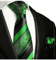 Green and Black Silk Tie Set by Paul Malone Red Line