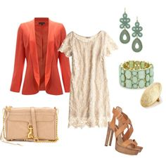 Blazer and a dress looks classy and fresh with these colors..but dress is too short and id prefer a wedge if the heels are that high.