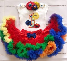 Sesame Street Friends 1st birthday outfit-Red and Gold Elmo Birthday/ CakeSmash outfit/ Birthday Pettiskirt