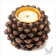 Pine Cone Tealight Holder perfect for outdoor #weddings and garden #parties #koyal