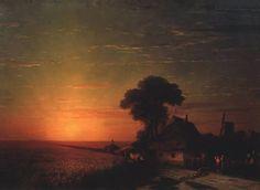 Ivan Konstantinovich Aivazovsky - Sunset in Little Russia (1863)