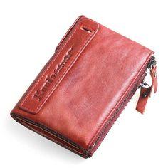 KAVIS 100% Genuine Leather Men Wallet Small Zipper Men Walet Portomonee Male Short Coin Purse Brand Perse Carteira For Rfid
