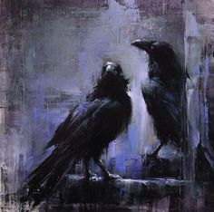 "Lindsey Kustusch ""Park Ravens"" with Pin It-button on http://barbarastroud.wordpress.com/2013/05/20/featured_artist_lindsey_kustusch/"