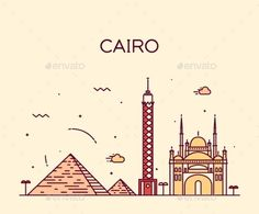 Cairo Skyline Trendy Vector Illustration Linear