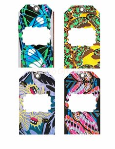 Vintage Colorful Art Deco Butterfly Patterned Tags from Eugene Séguy-Great for Scrapbooks, Birthday Parties, Cards, Bookmarks... by StudioGlindda on Etsy