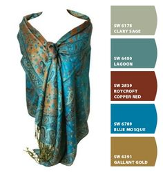 Elegant Teal Reversible Paisley Pashmina Silk Shawl Wrap (Chip It) RC x