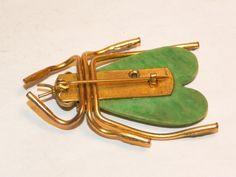 Antiques Atlas - Vintage Art Deco Green Bakelite Bug Brooch Pin