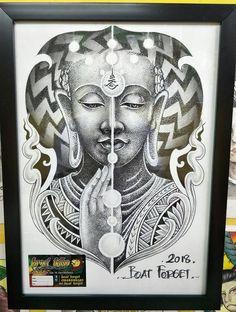 Yogi Tattoo, Asian Tattoos, Thai Art, Tattoo Drawings, Traditional Art, Tattoo Inspiration, Fantasy Art, Buddha, Tattoo Designs