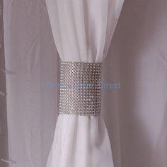 Silver Rhinestone Mesh Velcro Band / Curtain Tie - Event Decor Direct - North America's Premier