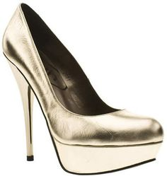ShopStyle: Schuh Womens Gold Leather High Heels Shoes