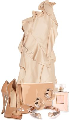 """Rose Gold"" perfect and pretty dress! Night out or Date night... beautiful pumps and clutch by gangdise on Polyvore"