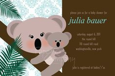 CLASSY KOALA Baby Shower Invitation  You by PaperHeartCompany, $15.00