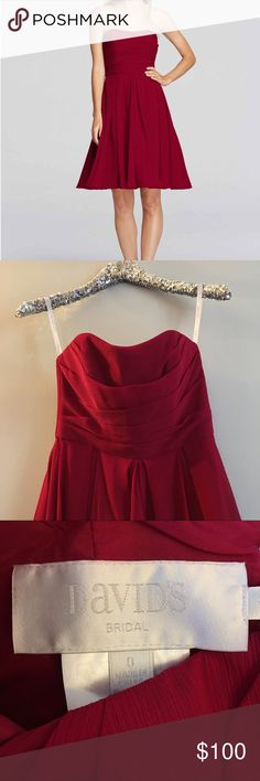 Short strapless dress. Strapless pleated bodice with flowing crinkle chiffon skirt that creates an airy look. What's the best thing about clean-lined styles like this short strapless chiffon bridesmaid dress? You can add any jewels, sashes, and shoes you like. Brand new; never worn. Color is apple red. Davids Bridal Dresses Strapless