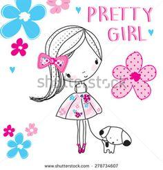 pretty girl with dog, T-shirt design vector illustration
