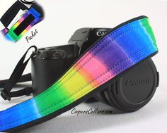 Rainbow dSLR Camera Strap with Pocket Tie Dye by CoopersCollars, $35.00