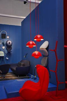 Danish chromatism exhibition during Salone del mobile Milan 2013. Flowerpot VP1 in bright red. Photo credit: Tuala Hjarnsø
